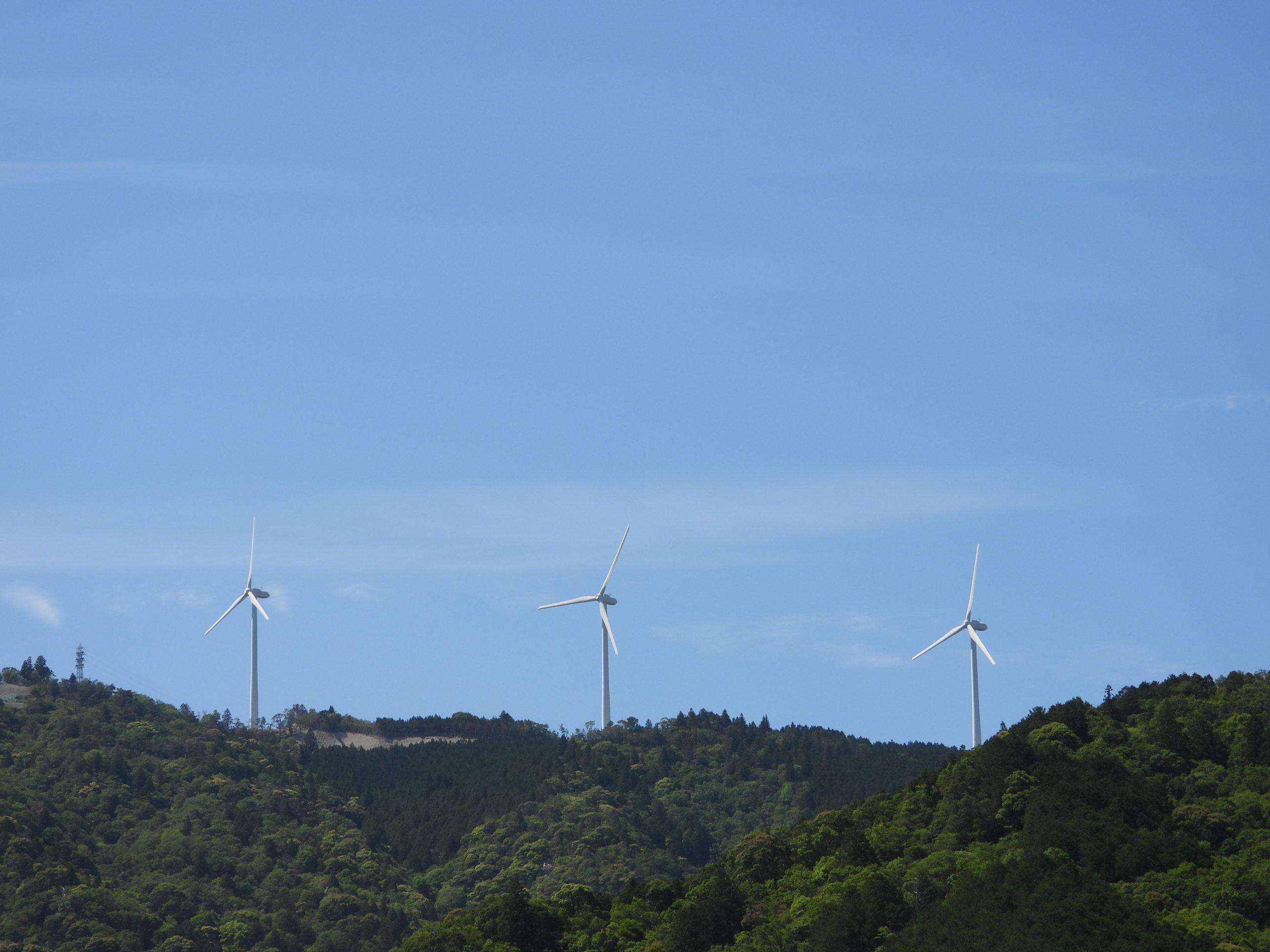 度会ウィンドファームの日立製作所製ダウンウィンド型風車