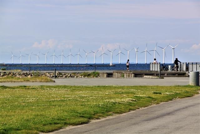 デンマーク コペンハーゲンの洋上風力発電所の風車